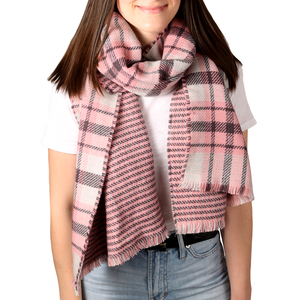 "Twilight Blush by H2Z Scarves - 74.5"" x 25.5"" Plaid Scarf"