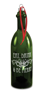 "Eat Drink & Be Merry by Wine All The Time - 7"" LED Lit Glass Ornament"