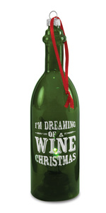 "Wine Christmas by Wine All The Time - 7"" LED Lit Glass Ornament"