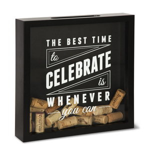 "Celebrate by Wine All The Time - 11"" x 11"" x 2.25"" Wood Cork Holder"