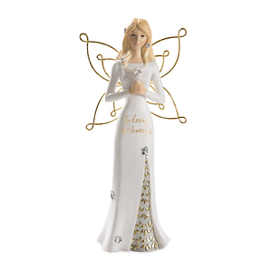 "Memory by Butterfly Whispers - 9"" Angel Holding a Dove"