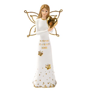 "Beloved Father by Butterfly Whispers - 5.5"" Angel Holding a Heart"