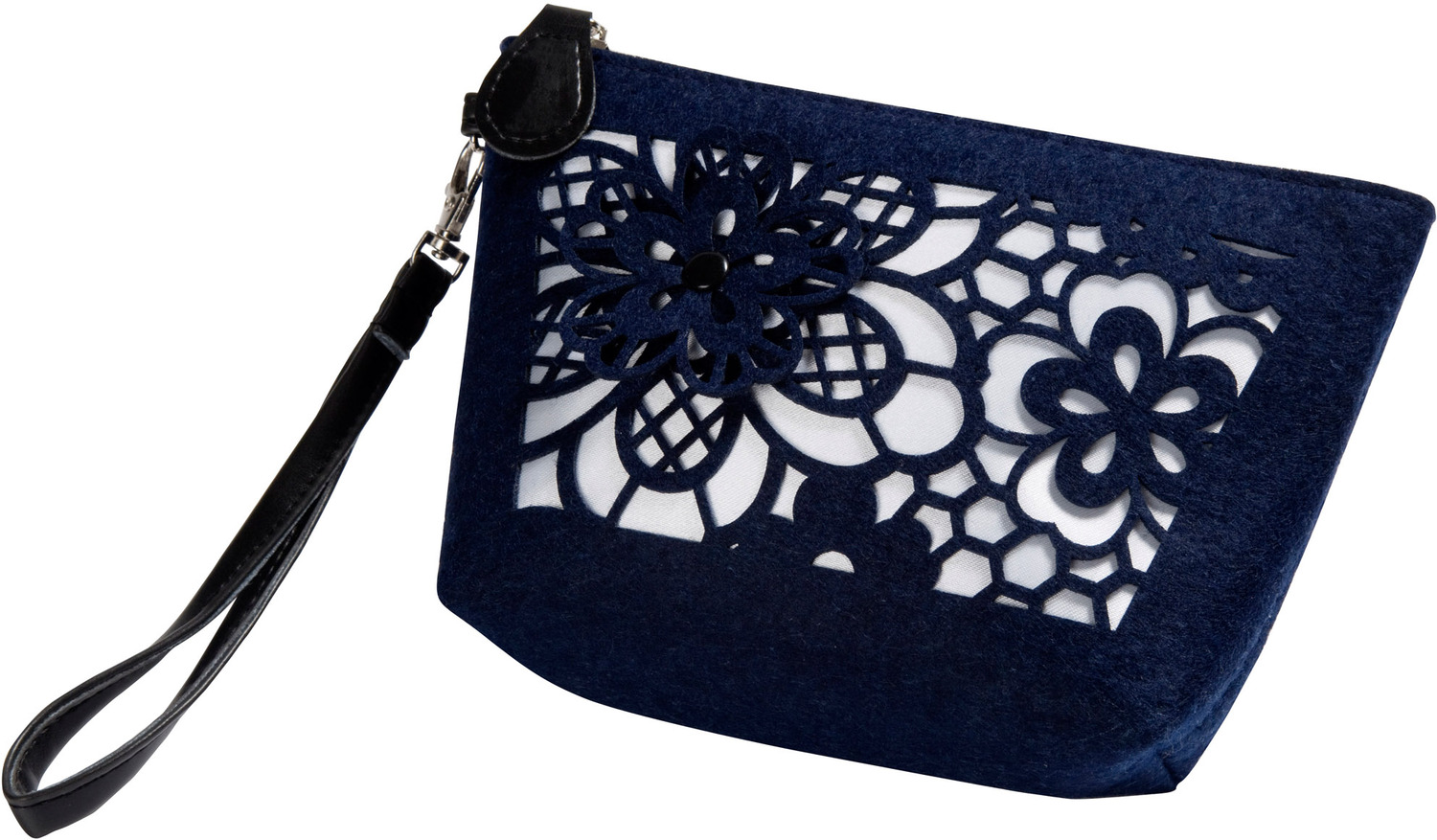 "Navy and Ivory by H2Z Felt Accessories - Navy and Ivory - 8"" x 2.5"" x 5"" Bag"