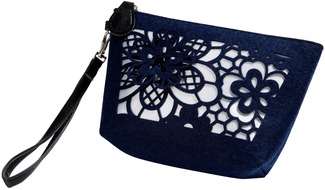 "Navy and Ivory by H2Z Felt Accessories - 8"" x 2.5"" x 5"" Bag"