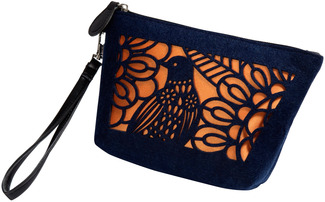 "Navy and Apricot by H2Z Felt Accessories - 8"" x 2.5"" x 5"" Bag/Wristlet"
