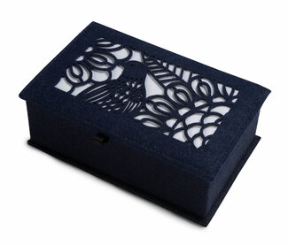 "Navy and Ivory by H2Z Felt Accessories - 7.75"" x 5"" x 2.75"" Small Jewelry Box"