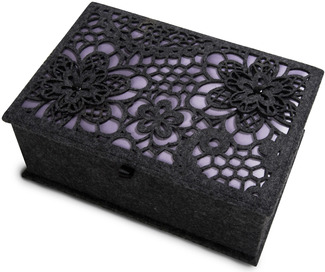 "Charcoal and Lavender by H2Z Felt Accessories - 9.75"" x 6.75"" x 3.75"" Large Jewelry Box"