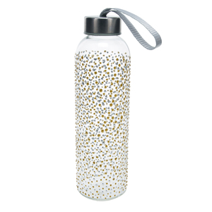 Gold & Silver Dots by Sunny by Sue - 16.5 oz Hand Decorated Glass Water Bottle