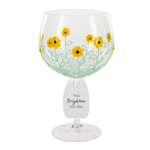 Sunflowers by Sunny by Sue - 24 oz Hand Decorated Glass