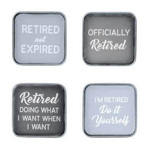"Not Expired by Retired Life - 4"" (4 Piece) Coaster Set"