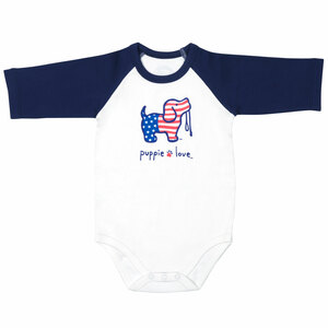 USA by Puppie Love - 6-12 Months 3/4 Length Navy Sleeve Onesie