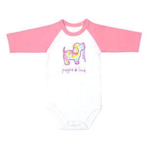 Tie Dye by Puppie Love - 6-12 Months 3/4 Length Pink Sleeve Onesie
