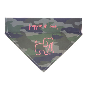"Camo by Puppie Love - 12"" x 8"" Canvas Slip on Pet Bandana"