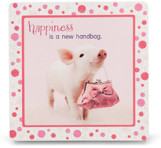 "Happiness by Shaded Pink - 3.5"" x 3.5"" Standing Plaque"
