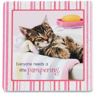 "Pampering by Shaded Pink - 3.5"" x 3.5"" Standing Plaque"