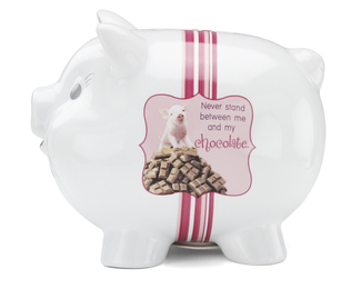 "Chocolate by Shaded Pink - 5.5""x4.3""x4.5"" Piggy Bank"