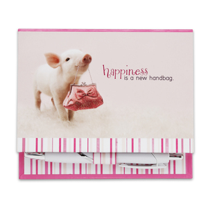 "Happiness by Shaded Pink - 4.5""x4"" Notepad with Pen"