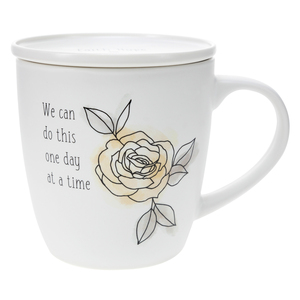 One Day at a Time by Faith Hope and Healing - 17 oz Cup with Coaster Lid