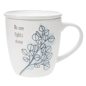 No One Fights Alone by Faith Hope and Healing - 17 oz Cup with Coaster Lid