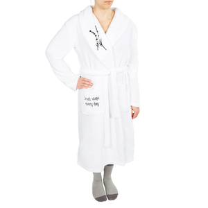 Small Steps by Faith Hope and Healing - One Size Fits Most White Royal Plush Robe