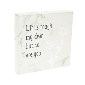 "Life is Tough by Faith Hope and Healing - 4.5"" Faux Leather Plaque"