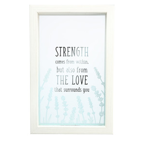 "Strength by Faith Hope and Healing - 5.5"" x 8.5"" Framed Glass Plaque"