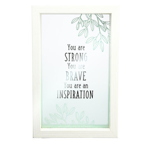 "Inspiration by Faith Hope and Healing - 5.5"" x 8.5"" Framed Glass Plaque"