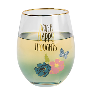Happy by Heartful Love - 18 oz Stemless Wine Glass
