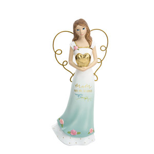 "Mom by Heartful Love - 6.5"" Angel Holding a Heart"