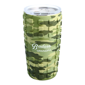 Badass Grandpa by Camo Community - 20 oz Travel Tumbler with 3D Silicone Wrap