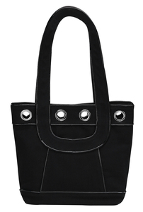 "Black Canvas Tote by Tuso - 9.5""x11.5""/w Black Piping"