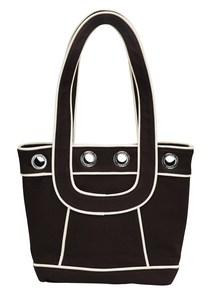 "Chocolate Canvas Tote by Tuso - 9.5""x11.5""/w Cream Piping"