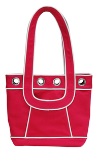 "Hot Pink Canvas Tote by Tuso - 9.5""x11.5""/w White Piping"