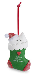 "Baby's First Christmas by Blobby Cat - 4"" Polymer Clay Ornament"