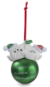 "Mistletoe by Blobby Cat - 3.75"" Polymer Clay Ornament"