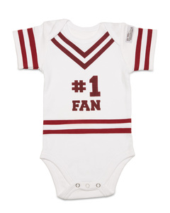 Maroon & White by Itty Bitty & Pretty - 0-6 Months Infant Onesie