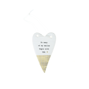"Many Smiles by Thoughtful Words - 4"" Hanging Heart Plaque"