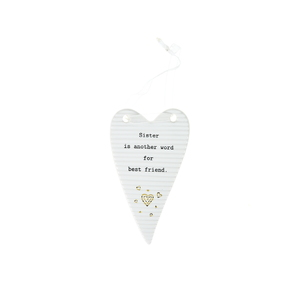 "Sister by Thoughtful Words - 4"" Hanging Heart Plaque"