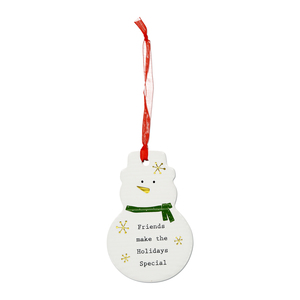 "Friends by Thoughtful Words - 3.75"" Snowman Ornament"