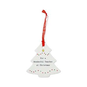 "Teacher by Thoughtful Words - 3.75"" Christmas Tree Ornament"