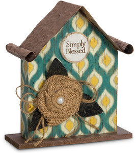 "Simply Blessed by Simple Spirits - 6.5"" Birdhouse Plaque"