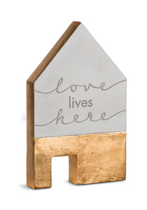 "Love Lives Here by Sweet Concrete - 5"" x 1"" x 8"" Cement House"
