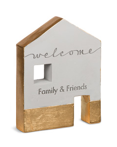 "Welcome by Sweet Concrete - 4.75"" x 1"" x 6"" Cement House"