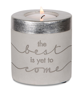 "The Best by Sweet Concrete - 3"" x 3"" Cement Candle Holder"