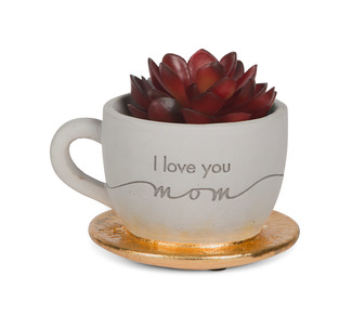 "Mom by Sweet Concrete - 4"" x 2.5"" Cement Teacup Planter & Faux Succulent"