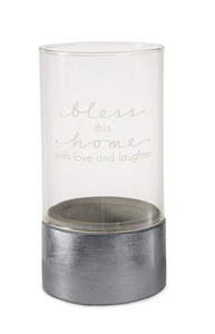 "Bless This Home by Sweet Concrete - 3.5"" x 7"" Cement & Glass Candle Holder"