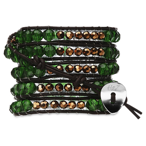 Clover-Emer Glass & Cop Bead by H2Z - Wrap Bracelets - 35 Inch Emerald Glass and Copper Beads w/ Brown Leather Wrap Bracelet