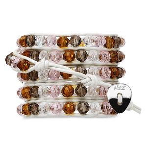 Spring Blossom- Amber Mix by H2Z - Wrap Bracelets - 35 Inch Smoky,  Clear, Amber and Pink Glass Beads w/ White  Leather Wrap Bracelet