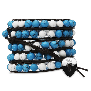 Sedona-Turquoise & White by H2Z - Wrap Bracelets - 35 Inch Turquoise and White Turquoise Beads w/ Brown Leather Wrap Bracelet