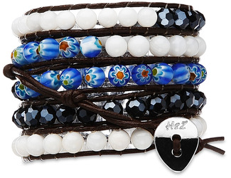 Celestial- Wht Shell,Blk Mix by H2Z - Wrap Bracelets - 35 inch White Shell, Black Metallic Glass and Millefiori Glass Beads w/ Brown Leather Wrap Bracelet
